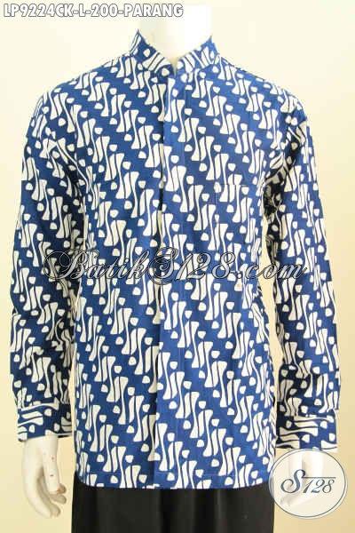 Batik Hem Lengan Panjang Model  Kerah Shanghai Motif Klasik Parang, Baju Batik Solo Proses Cap Berkelas Hanya 200 Ribu [LP9224CK-L]