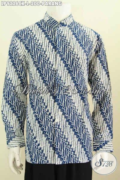 Batik Hem Lengan Panjang Bagus Dan Elegan, Kemeja Batik Pria Terkini Bahan Halus Model Koko Proses Cap Motif Parang Harga 200K, Size L