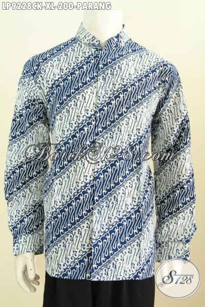 Eceran Dan Grosir Baju Batik Batik Pria Lengan Panjang Istimewa Harga Biasa, Pakaian Batik Solo Kerah Shanghai Berkelas Motif Klasik Proses Cap, Tampil Lebih Modis Dan Menawan [LP9228CK-XL]