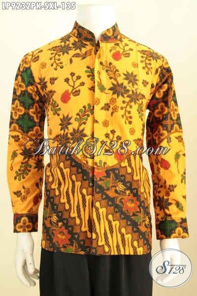 Batik Hem Printing Elegan Lengan Panjang Model Koko Kerah Shanghai, Berbahan Halus Dan Adem Berpadu Motif Trendy Tampil Modis Berkelas [LP9232PK- XL]