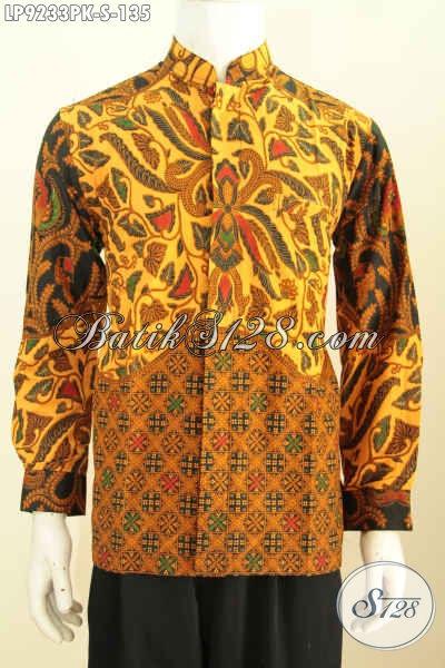 Hem Batik Halus Lengan Panjang, Kemeja Batik Jawa Etnik Bahan Adem Proses Printing Motif Mewah Harga 135K, Size S