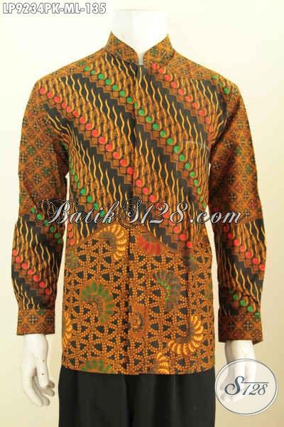 Hem Batik Klasik Halus, Kemeja Lengan Panjang Istimewa Bahan Adem Proses Printing, Istimewa Untuk Rapat Dan Kondangan, Size M – L