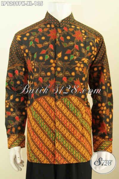 Hem Batik Pria Dewasa, Kemeja Lengan Panjang Klasik Model Koko Kerah Shanghai Motif Kombinasi Proses Printing Hanya 100 Ribuan, Size XL