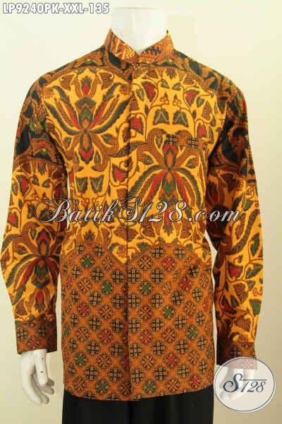 Hem Batik Elegan Lengan Panjang Klasik, Baju Batik Kombinasi Proses Printing Desain Koko Kerah Shanghai Harga 135K, Size XXL