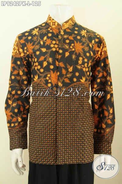 Hem Batik Koko Proses Printing, Baju Batik Kerah Shanghai Lengan Panjang Motif Klasik Kombinasi, Pakaian Batik Berkelas Untuk Kerja Dan Kondangan [LP9242PK-L]