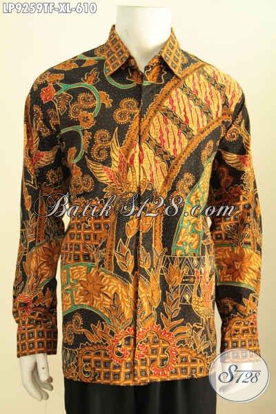 Hem Pria Lengan Panjang Mewah Full Furing, Pakaian Batik Formal Halus Motif Klasik Proses Tulis Harga 600 Ribuan [LP9259TF-XL]