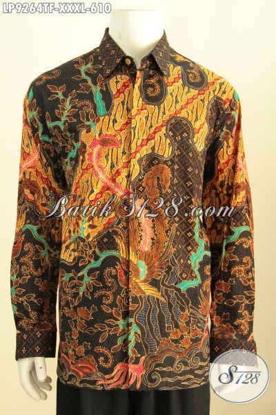 Hem Batik Solo Premium Super Big Size, Baju Batik 4L Mewah Lengan Panjang Full Furing Spesial Untuk Pria Gemuk Sekali, Motif Klasik Tulis Asli [LP9264TF-XXXL]