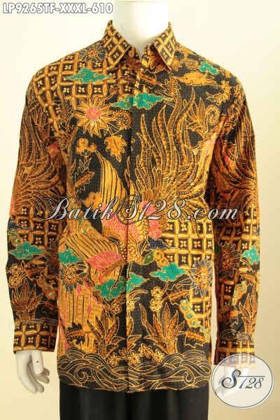Sedia Pakaian Batik Untuk Pria Gemuk Sekali, Baju Batik Premium Motif Klasik Lengan Panjang Full Furing Proses Tulis Harga 600 Ribuan [LP9265TF-XXXL]