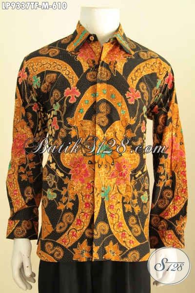 Baju Batik Formal Untuk Pria Muda, Pakaian Batik Berkelas Proses Tulis Motif Mewah Buatan Solo Asli, Model Lengan Panjang Penampilan Terlihat Gagah [LP9337TF-M]