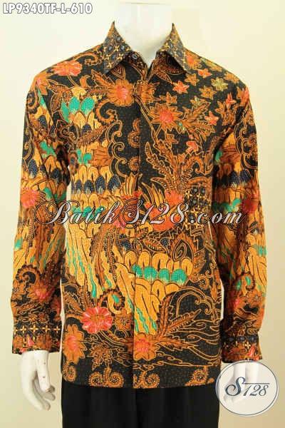 Batik Hem Solo Premium, Pakaian Batik Kerja Nan Mewah Lengan Panjang Motif Terkini Proses Tulis, Lebih Berkelas Dengan Daleman Full Furing [LP9340TF-L]