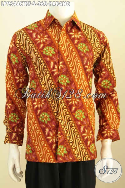 Baju Batik Klasik Parang Lengan Panjang Full Furing, Busana Batik Solo Istimewa Proses Cap Tulis, Penampilan Lebih Gagah Dan Berkarakter, Size S
