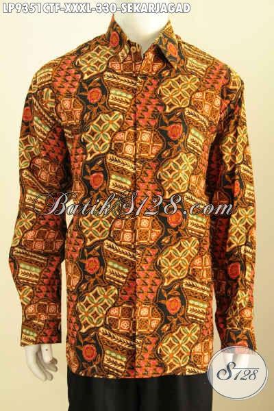 Hem Batik 4L Lengan Panjang, Busana Batik Big Size Full Furing Motif Sekarjagad Bahan Halus Proses Cap Tulis Harga 330K Untuk Lelaki Gemuk Sekali [LP9351CTF-XXXL]