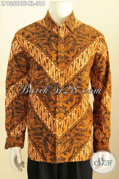 Baju Batik Elegan Klasik, Baju Batik Formal Lengan Panjang Pake Furing Motif Proses Kombinasi Tulis, Penampilan Lebih Gagah Berkarakter [LP9352BTF-XL]