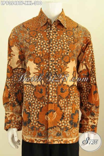 Baju Kemeja Pria Gemuk, Pakaian Batik Solo Klasik Kombinasi Tulis Full Furing Lengan Panjang, Elegan Buat Rapat Dan Kondangan [LP9354BTF-XXL]