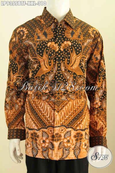 Baju Batik Solo Pria Lengan Panjang Full Furing, Hem Batik Klasik Kombinasi Tulis Nan Berkelas, Pria Gemuk Terlihat Ganteng Maksimal Harga 310K [LP9355BTF-XXL]