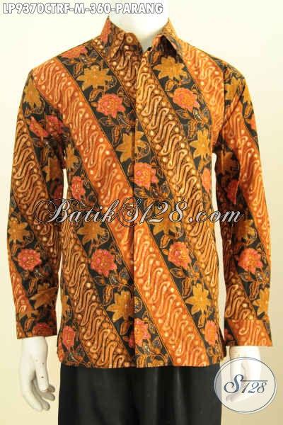 Hem Batik Klasik Motif Motif Parang, Kemeja Batik Elegan Cap Tulis Lengan Panjang Full Furing, Pas Banget Untuk Acara Resmi, Size M