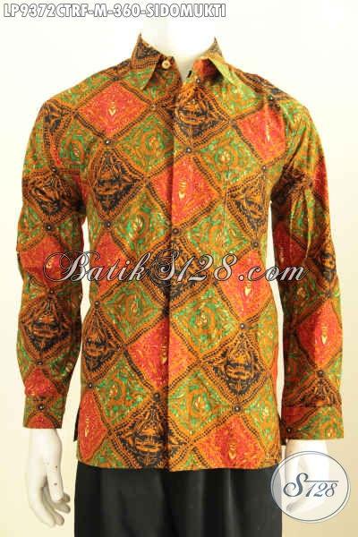 Baju Batik Kerja Motif Klasik Sidomukti, Kemeja Batik Solo Halus Full Furing Lengan Panjang, Penampilan Gagah Berwibawa, Size M