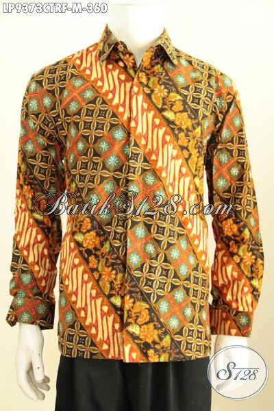 Batik Kemeja Lengan Panjang Motif Klasik, Busana Batik Solo Elegan Full Furing Buatan Solo Asli Harga 360K, Size M
