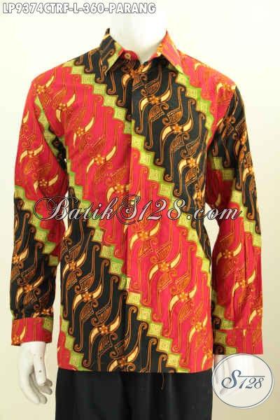 Baju Batik Hem Lengan Panjang Istimewa, Pakaian Batik Dengan Motif Klasik Warna Berkelas Proses Cap Tulis Model Lengan Panjang Full Furing Hanya 360K [LP9374CTRF-L]