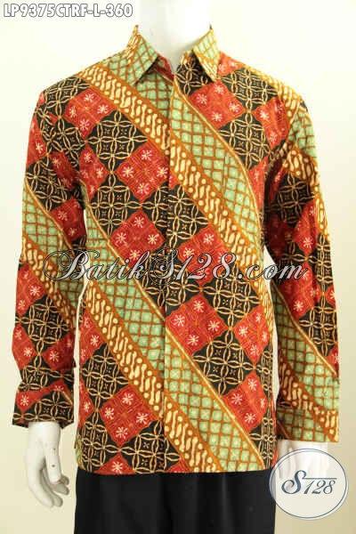 Jual Baju Batik Pria Lengan Panjang Elegan Motif Klasik, Pakaian Batik Halus Cap Tulis Daleman Full Furing, Tampil Gagah Dan Mewah [LP9375CTRF-L]