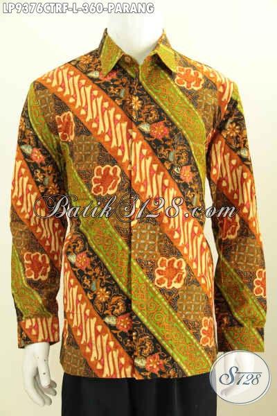 Batik Hem Solo Motif Parang Klasik, Baju Batik Halus Elegan Lengan Panjang Full Furing Istimewa, Bikin Penampilan Berwibawa, Size L