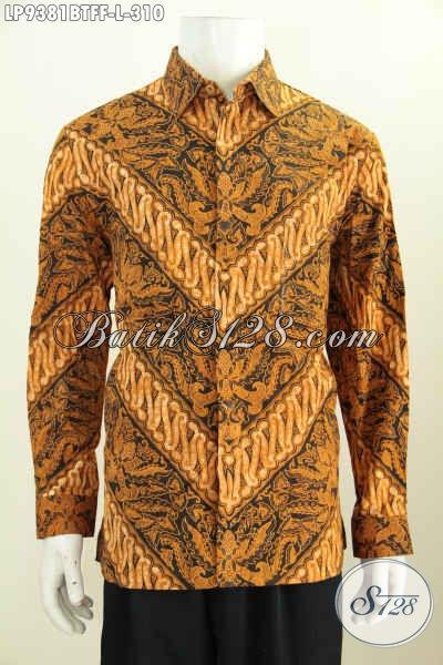 Produk Kemeja Batik Solo Istimewa Lengan Panjang Halus Proses Kombinasi Tulis, Pakaian Batik Istimewa Masa Kini Daleman Full Furing Motif Klasik, Elegan Untuk Acara Formal [LP9381BTFF-L]