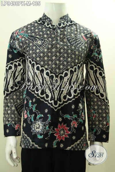 Baju Batik Pria Lengan Panjang Model Koko Kerah Shanghai, Pakaian Batik Berkelas Bahan Adem Proses Printing Motif Klasik, Tampil Gagah Dan Tampan [LP9498PK-M]
