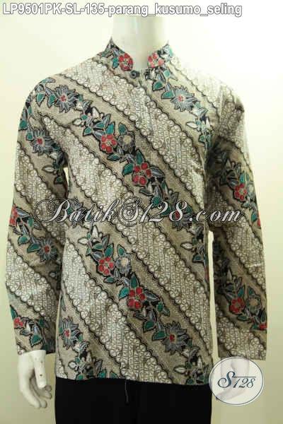 Kemeja Batik Klasik Halus Motif Parang Kusumo Seling Buatan Solo Asli, Pakaian Batik Koko Kerah Shanghai Mantab Di Pakai Untuk Acara Resmi Harga 135K [LP9501PK-L]