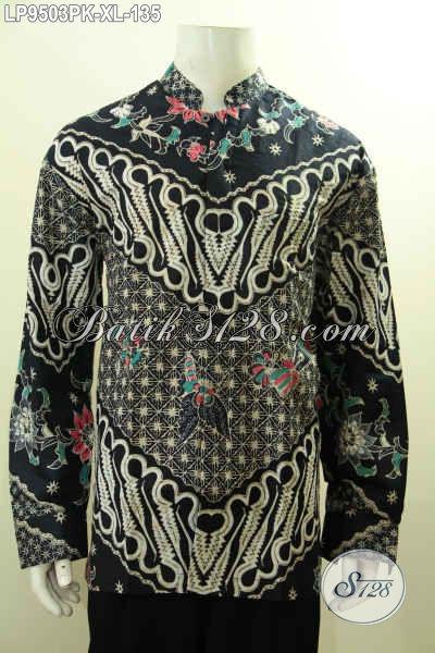 Baju Batik Pria Lengan Panjang 2017, Pakaian Batik KokoKerah Shanghai Elegan Motif Klasik Printing, Tampil Gagah Di Acara Resmi [LP9503PK-XL]