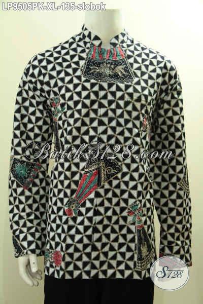 Sedia Baju Batik Klasik Motif Slobok Model Koko Kerah Shanghai, Pakaian Batik Halus Proses Printing Harga 135 Ribu Saja, Size XL