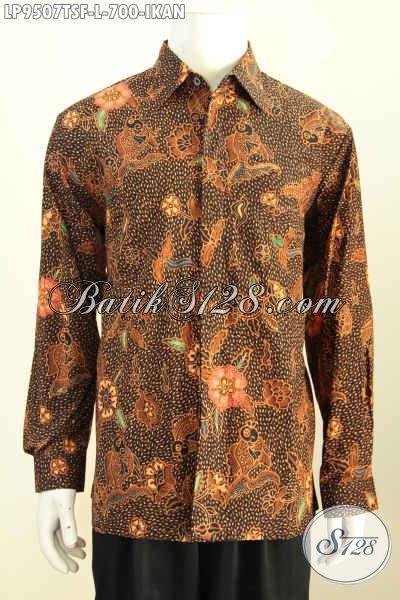 Hem Batik Mewah Motif Ikan, Pakaian Batik Elegan Lengan Panjang Full Furing Proses Tulis Soga Harga 700K, Spesial Buat Eksekutif [LP9507TSF-L]