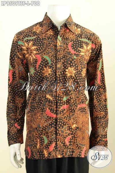 Model Kemeja Batik Pria Lengan Panjang, Baju Batik Premium Full Furing Halus Motif Klasik Tulis Soga Harga 700K, Cocok Buat Pria Pejabat [LP9509TSF-L]