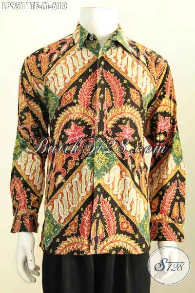Batik Hem Klasik Lengan Panjang Proses Tulis, Kemeja Batik Istimewa Pria Muda Full Furing, Elegan Buat Rapat Hanya 600 Ribuan [LP9511TF-M]