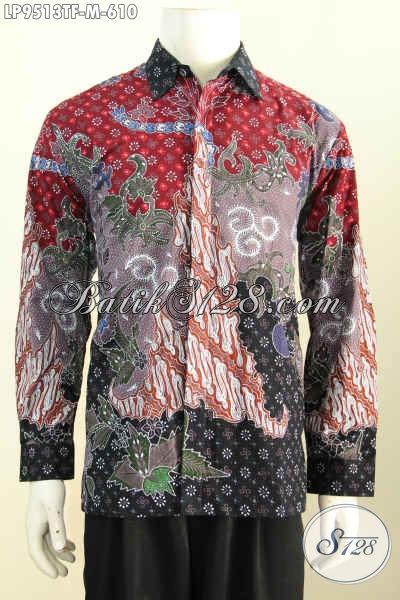 Batik Kemeja Pria Buatan Solo, Hem Batik Mewah Lengan Panjang Full Furing, Baju Batik Istimewa Proses Tulis Bahan Adem Harga 600 Ribuan, Size M