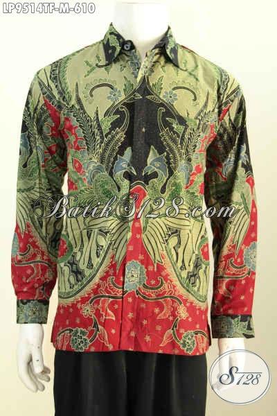 Baju Batik Solo Pria Lengan Panjang, Hem Batik Halus Mewah Elegan Full Furing Motif Bagus Tulis Aslo Harga 610 Ribu [LP9514TF-M]