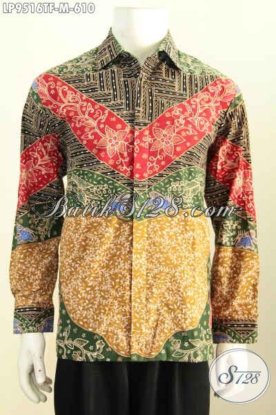 Baju Batik Hem Pria Lengan Panjang, Busana Batik Solo Mewah Untuk Lelaki Muda Tampil Gagah Mempesona, Size M