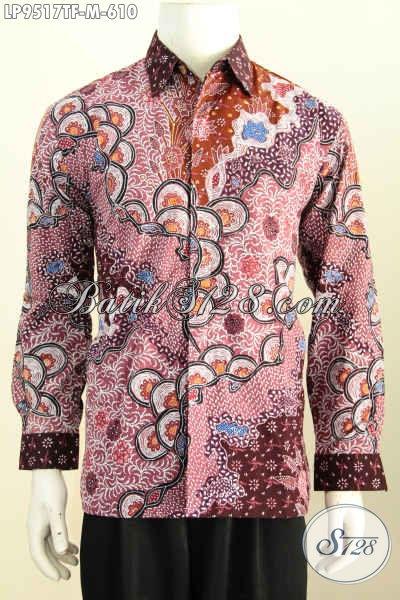 Jual Kemeja Batik Full Furing Mewah, Pakaian Batik Istimewa Dan Berkelas Untuk Penampilan Berwibawa, Bahan Halus Motif Klasik Tulis Model Lengan Panjang [LP9517TF-M]