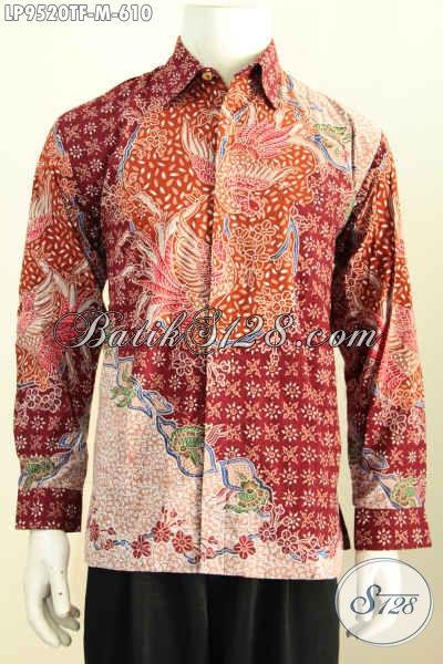 Kemeja Batik Pria Sukses, Hem Lengan Panjang Mewah Motif Klasik, Pakaian Batik Tulis Full Furing, Bikin Penampilan Gagah Dan Tampan [LP9520TF-M]