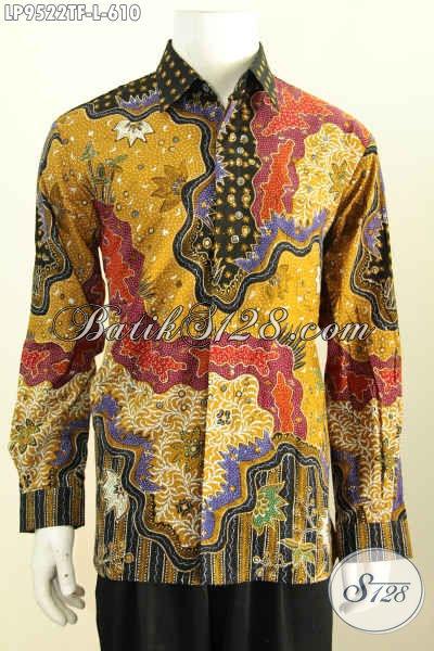 Baju Batik Pria Modern Lengan Panjang Istimewa, Busana Batik Modis Halus Motif Klasik Buatan Solo Proses Tulis, Penampilan Lebih Gagah Mempesona Harga 600 Ribuan [LP9522TF-L]