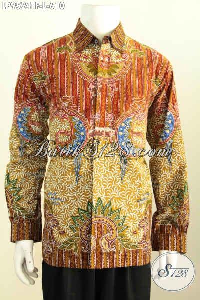 Baju Batik Kerja Mewah, Pakaian Batik Tulis Full Furing Lengan Panjang Istimewa Yang Membuat Penampilan Gagah Sempurna, Size L