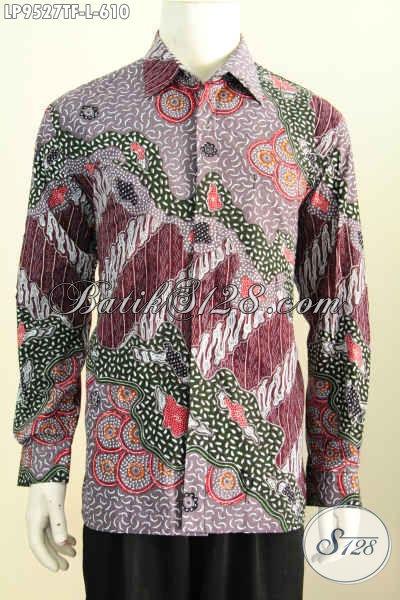 Sedia Batik Hem Bagus Mewah Lengan Panjang Motif Terkini, Busana Batik Premium Khas Pejabat Spesial Buat Lelaki Sukses Hanya 610K [LP9527TF-L]