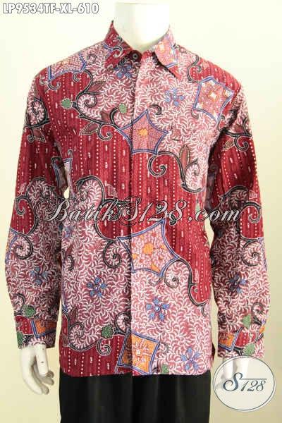 Jual Baju Batik Premium Warna Merah Motif Mewah Proses Tulis, Pakaian Batik Istimewa Full Furing Model Lengan Panjang, Penampilan Berkelas Bak Pejabat [LP9534TF-XL]