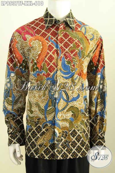 Tempat Belanja Pakaian Batik Big Size Online Terpercaya, Sedia Kemeja Lengan Panjang 3L Halus Motif Klasik Tulis Asli Harga 600 Ribuan, Cocok Untuk Pejabat Berbadan Gemuk [LP9537TF-XXL]