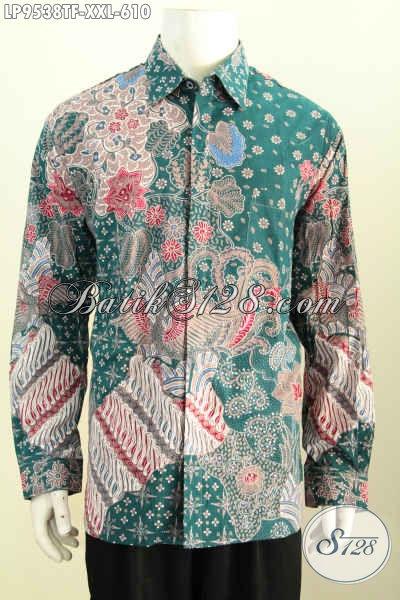 Jual Hem Batik Solo Terkini, Hadir Dengan Warna Hijau Lengan Panjang Full Furing Motif Bagus Proses Tulis Harga 610K [LP9538TF-XXL]