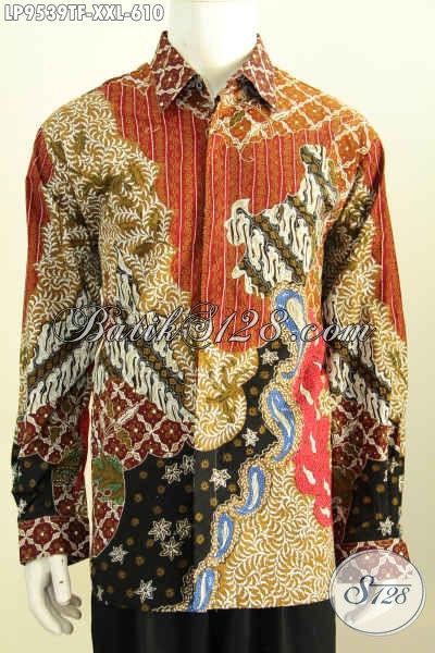 Baju Batik Pria XXL, Hem Lengan Panjang Mewah Tulis Asli Daleman Full Furing, Cocok Untuk Kerja Dan Rapat [LP9539TF-XXL]