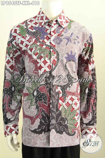 Toko Busana Batik Jawa Etnik, Kemeja Batik Mewah Halus, Produk Pakaian Batik Big Size Lengan Panjang Full Furign Motif Tulis Asli Harga 610K [LP9540TF-XXL]