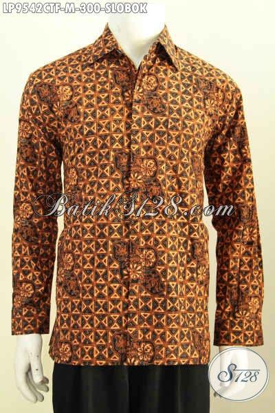 Batik Hem Cap Tulis Mewah Motif Klasik Slobok, Produk Busana Batik Untuk Pria Muda Model Lengan Panjang Dengan Daleman Full Furing, Di Jual Online 300K [LP9542CTF-M]