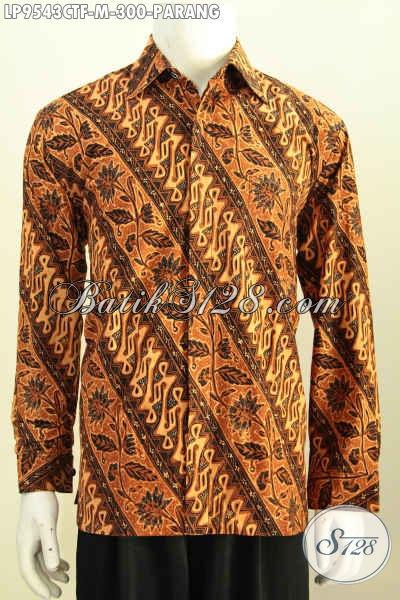 Batik Kemeja Klasik Motif Parang, Busana Batik Elegan Lengan Panjang Full Furing Bahan Adem Proses Cap Tulis, Penampilan Gagah Berkarakter [LP9543CTF-M]