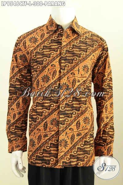 Batik Hem Mewah Terkini, Baju Batik Solo Lengan Panjang Full Furing Kwalitas Istimewa Motif Parang Proses Cap Tulis, Tampil Elegan Berwibawa [LP9546CTF-L]