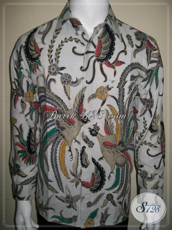 Batik Pria Warna Putih Tangan Panjang Motif Burung Cendrawasih, Eksklusif [LD957BT-M]